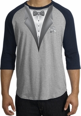 Tuxedo T-Shirt Raglan With White Flower - Heather Grey/Navy