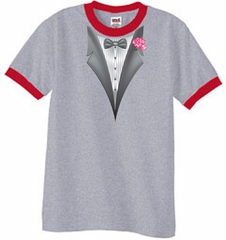 Tuxedo T-Shirt Ringer With Pink Flower - Heather Grey/Red
