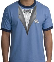 Tuxedo T-Shirt Ringer With White Flower - Carolina Blue/Navy