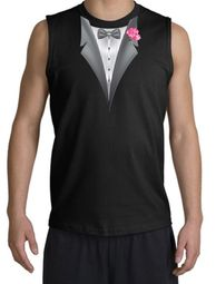 Tuxedo T-Shirt  Shooter With Pink Flower