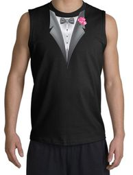 Tuxedo T-Shirt Shooter with Pink Flower - Black