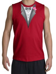 Tuxedo T-Shirt Shooter with Pink Flower - Red