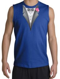 Tuxedo T-Shirt Shooter with Pink Flower - Royal Blue