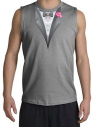 Tuxedo T-Shirt Shooter with Pink Flower - Sports Grey