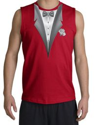 Tuxedo T-Shirt Shooter With White Flower - Red