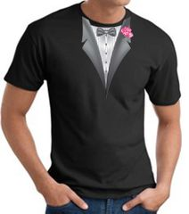 Tuxedo T-shirt With Pink Flower - Black