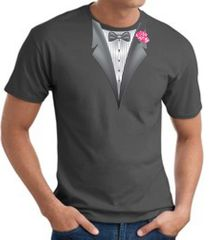 Tuxedo T-shirt With Pink Flower - Charcoal