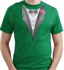 Tuxedo T-shirt With Pink Flower - Kelly Green