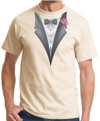 Tuxedo T-shirt with Pink Flower - Natural