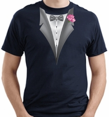 Tuxedo T-shirt With Pink Flower - Navy