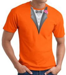 Tuxedo T-shirt With Pink Flower - Orange