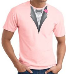 Tuxedo T-shirt With Pink Flower - Pale Pink