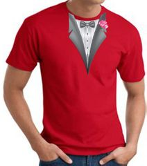 Tuxedo T-shirt With Pink Flower - Red