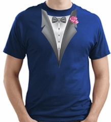 Tuxedo T-shirt With Pink Flower - Royal Blue