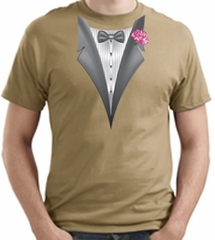 Tuxedo T-shirt With Pink Flower - Sand