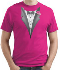 Tuxedo T-shirt With Pink Flower - Sangria