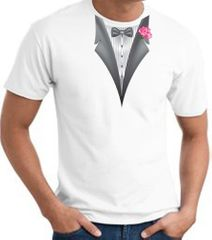 Tuxedo T-shirt With Pink Flower - White