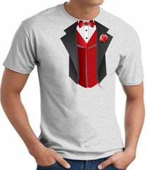 Tuxedo T-Shirt With Red Vest - Ash
