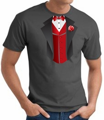 Tuxedo T-Shirt With Red Vest - Charcoal