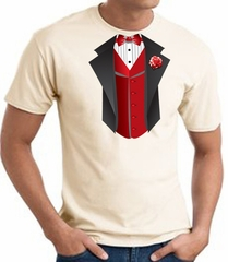 Tuxedo T-Shirt With Red Vest - Natural