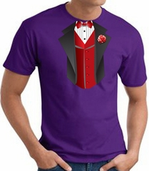Tuxedo T-Shirt With Red Vest - Purple