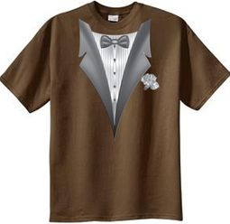 Tuxedo T-shirt With White Flower - Brown