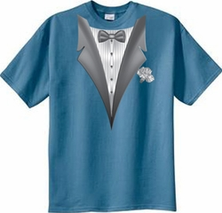 Tuxedo T-shirt With White Flower - Colonial Blue