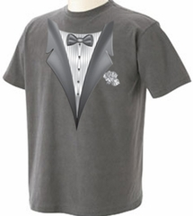 Tuxedo T-shirt With White Flower - Mineral Color