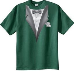 Tuxedo T-shirt With White Flower - Spruce Color