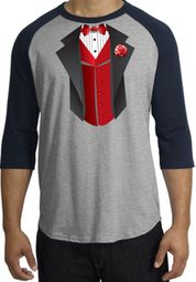 Tuxedo T-shirts Raglan With Red Vest