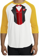 Tuxedo T-shirts Raglan With Red Vest - White/Gold