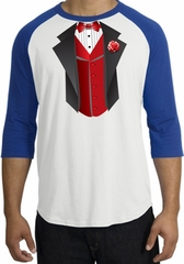 Tuxedo T-shirts Raglan With Red Vest - White/Royal