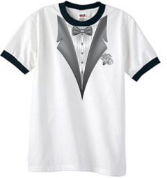Tuxedo T-Shirts Ringer with White Flower