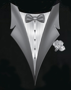 Tuxedo T-shirts With White Flower