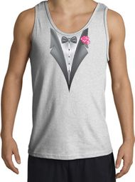 Tuxedo Tank Top with Pink Flower - Ash Grey