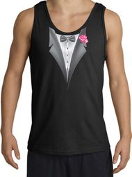 Tuxedo Tank Top with Pink Flower - Black