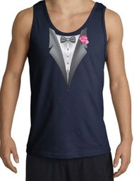 Tuxedo Tank Top with Pink Flower - Navy Blue