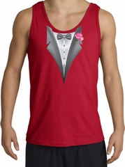 Tuxedo Tank Top with Pink Flower - Red