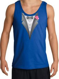 Tuxedo Tank Top with Pink Flower - Royal Blue