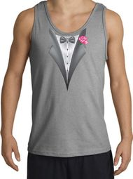 Tuxedo Tank Top with Pink Flower - Sports Grey