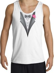 Tuxedo Tank Top with Pink Flower - White