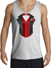 Tuxedo Tank Top with Red Vest - Ash