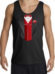 Tuxedo Tank Top with Red Vest - Black