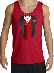 Tuxedo Tank Top with Red Vest - Red