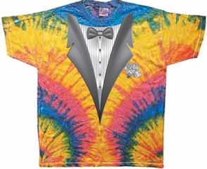 Tuxedo Tie Dye Shirt Tux Woodstock Colorful Tee Shirt
