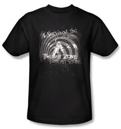 Twilight Zone T-Shirt - I Survived Adult Black
