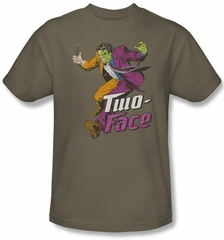 Two Face T-shirt - Two Face Harvey Dent Villain Adult Safari Color Tee