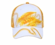 Two Tone Hat with Screen Print and Ribbon - Lackpard Cap - Gold