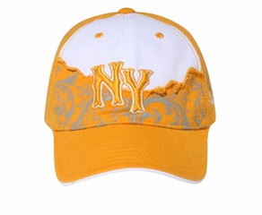 Two Tone New York Hat - 3D Lackpard Distressed Cap - Gold