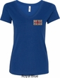 Union Jack Patch Pocket Print Ladies V-Neck Shirt